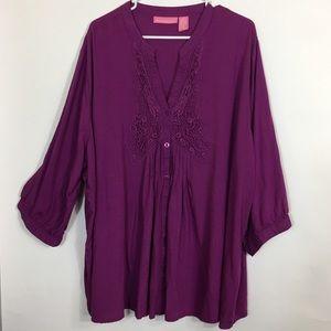 Pintucked Front Tunic Top 3X Purple Crochet Trim